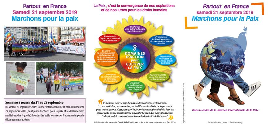 """Dépliant """"Marchons pour la Paix"""" le 21 septembre 2019"""